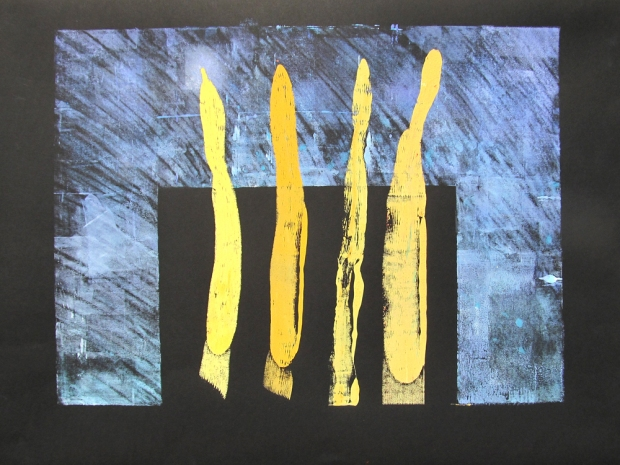 Four beautiful sticks – monoprint (26″ x 18″)