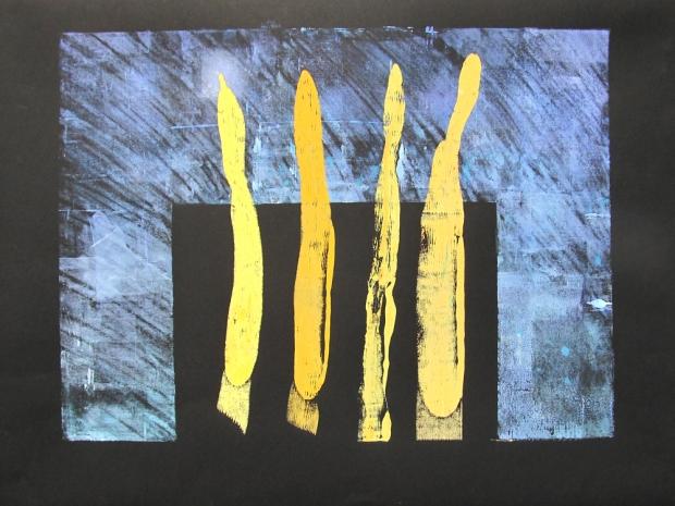 Four beautiful sticks – monoprint (26″ x 18″)